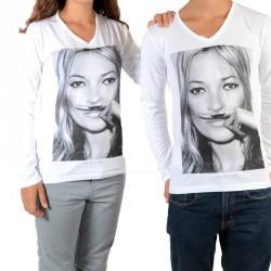 Tee Shirt Little Eleven paris KM LS Mixte (Garçon / Fille) Kate Moss Blanc